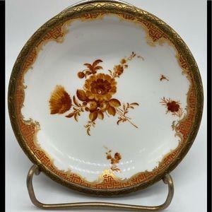 Meissen Porcelain ormolu Bowl Bronze Rim Flowers